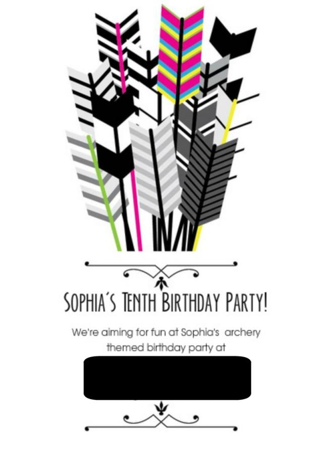 Archery Party Invite